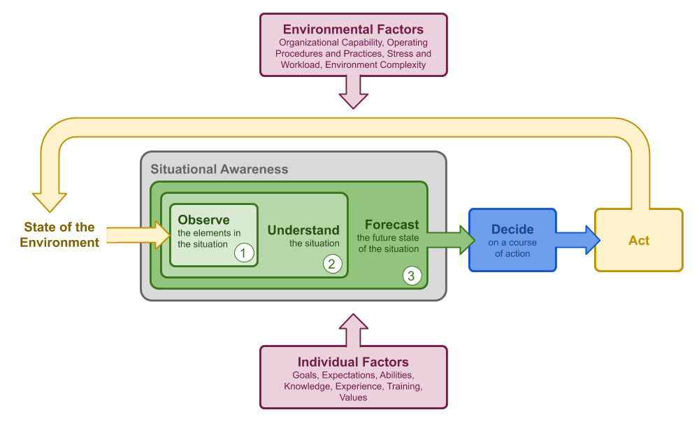 A process model showing the three levels of situational awareness; observe, understand, and forecast that support decision making and action, along with the individual and environmental factors that influence decisions. Based on Endsley's model of SA